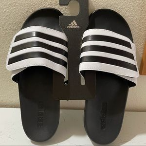 adidas Unisex Slide Sandal, White, M9/W10